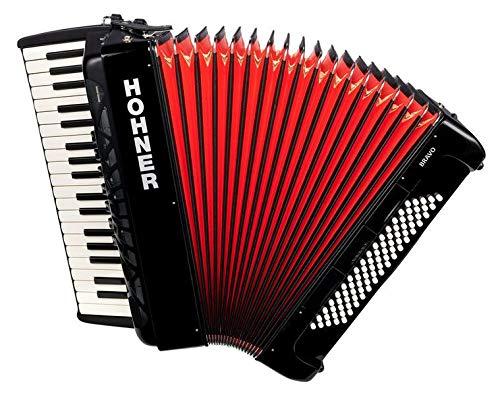 Hohner Bravo Line Facelift III Chromatisches Piano-Akkordeon mit Tasche 80 Bass Schwarz