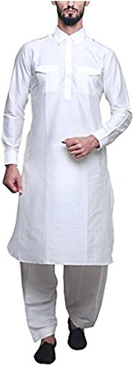 Royal Mens White Silk Blend Festive Pathani Suit