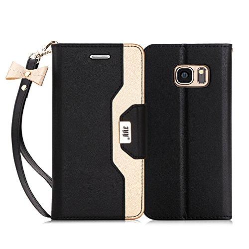 FYY Cover per Samsung S7 Edge,Cover S7 Edge,Cover Galaxy S7 Edge, Custodia a Portafoglio Libro Pelle PU con Lo Specchio Cosmetico e Bow-Knot Strinscia per Samsung Galaxy S7 Edge-Nero