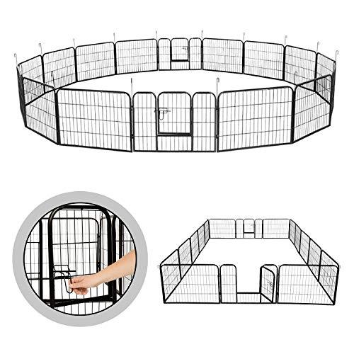 wolketon Welpenauslauf Freigehege Welpenlaufstall Freilaufgehege Hundelaufstall,mit Tür und rutschfeste Gummiauflage,16 stück