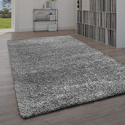 Paco Home Teppich Wohnzimmer, Schlafzimmer/Hochflor Shaggy in versch. Designs Farben und Größen, Grösse:133x190 cm, Farbe:Anthrazit