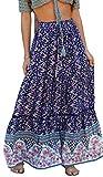 R.Vivimos Womens Summer Cotton Vintage Floral Print Boho Casual Long Skirt (Small, NavyBlue)