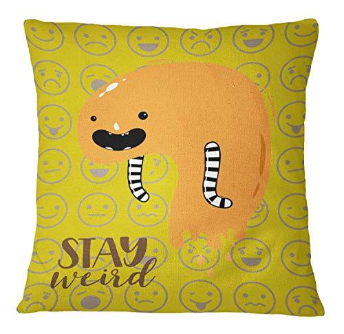 Timingila Amarillo Satin Fundas de colchón Monstruo sanguijuela, Emojis y Estancia weired Funda de Almohada Cuadrada Decorativa Throw Square Pillow Case 1 Unids - 18 x 18 Pulgadas