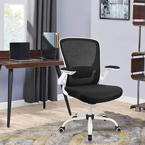 Komene bürostuhl Ergonomisch mit Großem Sitzkissen und Klappbaren Armlehnen, Ergonomischer Schreibtischstuhl Lendenwirbelstütze mit Netzrückenlehne und Black roll.