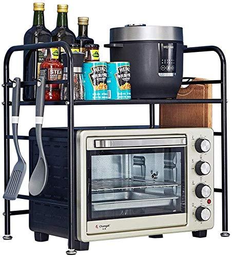 LLJYG Küchenregal, Edelstahl, für Mikrowelle, Backofen, multifunktional, mit Haken, Ofenrost, 54 x 38 x 55,4 cm, Allzweck-Ablage 54 × 38 × 55,5 cm.