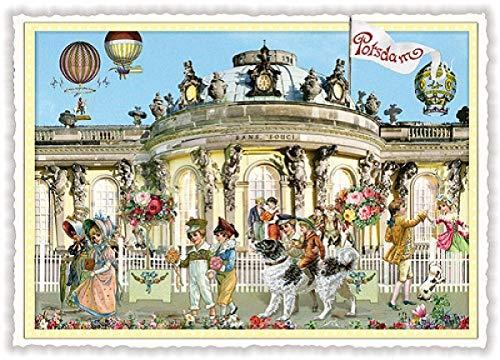 Nostalgische Postkarte mit Glitzer * Potsdam Schloß Sans Souci