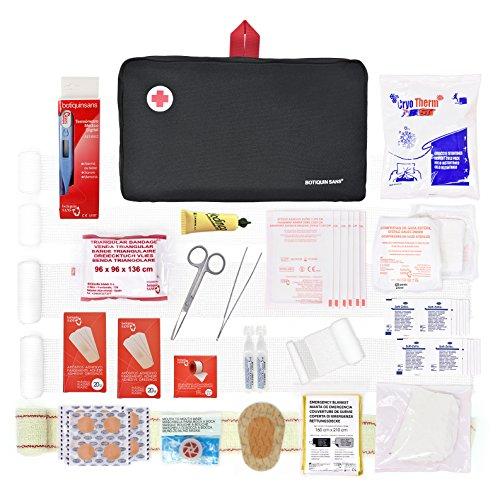 Botiquín de primeros auxilios PREMIUM con 120 artículos (incluye termómetro, manta de emergencia, suero fisiológico, etc)