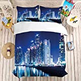 Quilt Comforter Quilt Cover With Zipper Closure Bedding 3 Piece Duvet Cover Set Queen California King(104'x98'-20'x36'2) Urban,Busan City Skyline Night Korean Landscape Buildings Skyscrapers View Mod