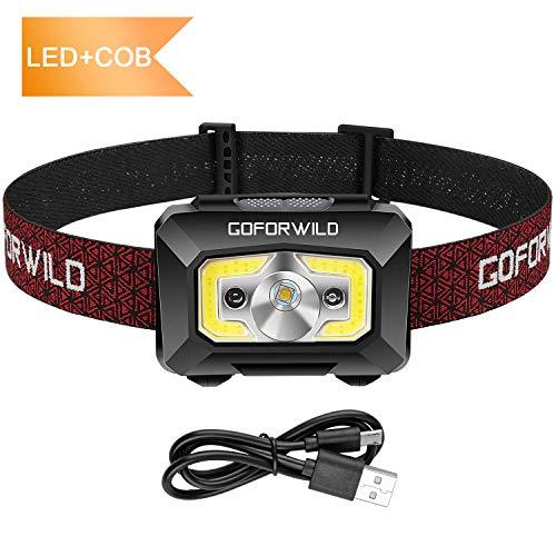 GOFORWILD - Linterna frontal recargable, COB mejorada, 500 lúmenes, luz roja y sensor de movimiento, impermeable, para camping, senderismo, al aire libre (1 unidad)