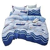 Kids Sailboat Nautical Duvet Cover Set Twin, Pirate Ship Anchor Whale Starfish Pattern Blue Reversible Bedding Set for Kids Teens Boys Girls, 3 Piece, No Comforter