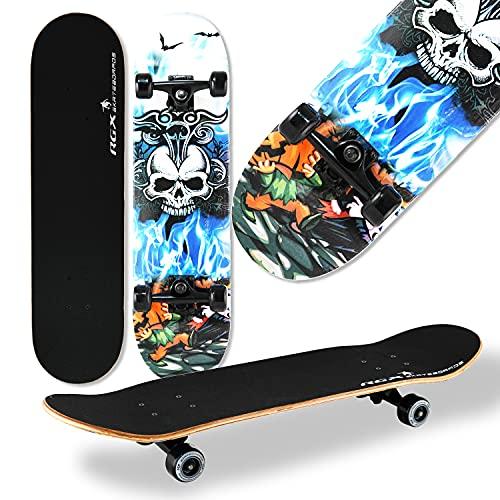 WeLLIFE Komplettes Skateboard für Anfänger RGX MG 411 Skateboard aus Holz 79 x 20 cm aus 9 Schichten konkavem Ahornholz Double Kick für Kinder Jugendliche Erwachsene
