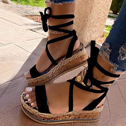 JFFFFWI Sandalias de cuña para Mujer Sandalias de Plataforma con Punta Abierta de Verano Moda para Mujer Zapatos Casuales Hebilla Correa de Tobillo Sandalias de Gladiador con Tiras de Fiesta, Negro,