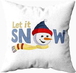 Ducan Lincoln Pillow Case 2PC 18X18,Fundas De Almohada,Deseos De Vacaciones Let Snow Fancy Letters Cartoon Playful Fun Snowman Snow Ball Sofá Fundas De Almohada,Fundas De Almohada,Gris Verde