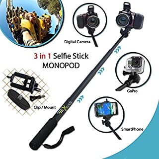Xtech? Premium 3 in 1 Handheld MONOPOD Pole for DIGITAL Cameras, SMARTPHONES and GoPro Cameras including NIKON COOLPIX AW1...
