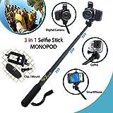 Xtech? Premium 3 in 1 Handheld MONOPOD Pole for DIGITAL Cameras, SMARTPHONES and GoPro Cameras including NIKON COOLPIX AW130, AW120, AW110, AW100, L310, L24, L22, L20, L330, L320, L620, L610, P7800, P7700, L840, L830, L820, P900 P610, P600, P530, P340, L810, P4, P3, S810c, S9900, S7000, S6900, S3700, S2900, S33, S32, S9700, L32, L31 L30, S510, S500, S200, S700, S600, S750, L28, L26, L120, L110, L100, L19 S210, S205, S520 and All Digital Cameras. [並行輸入品]