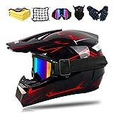 Fullface - Casco de protección para motocross, dot certificed adulto, casco para niños con gafas, guantes y máscara, unisex (A,S)