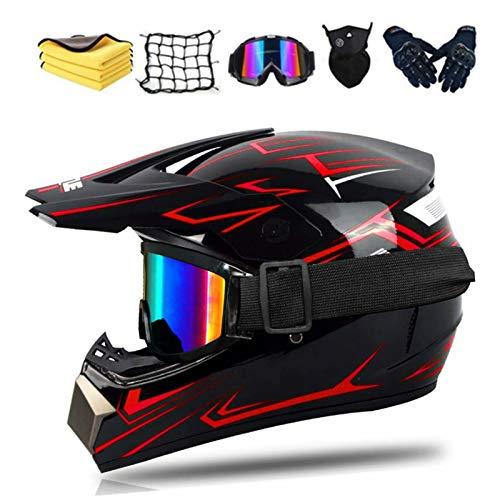 Fullface Motocross-Helm Dot Certified Erwachsene Offroad Helm Downhill für Kinder mit Brille, Handschuhe und Maske, Unisex (A,M)