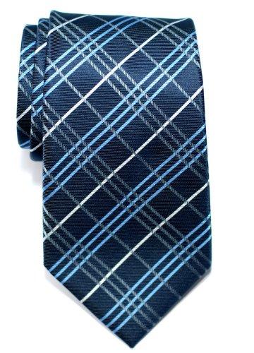 Retreez Cravate Tartan Plaid Check Tissée en Microfibres de bleu marin