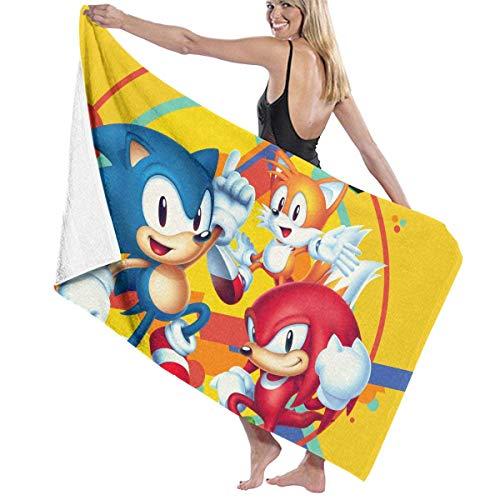 ETGBFHRDH Sonic Mania toalla de playa y baño de secado rápido para hombres y mujeres, de gran tamaño, para nadar y acampar, 31 pulgadas x 51 pulgadas