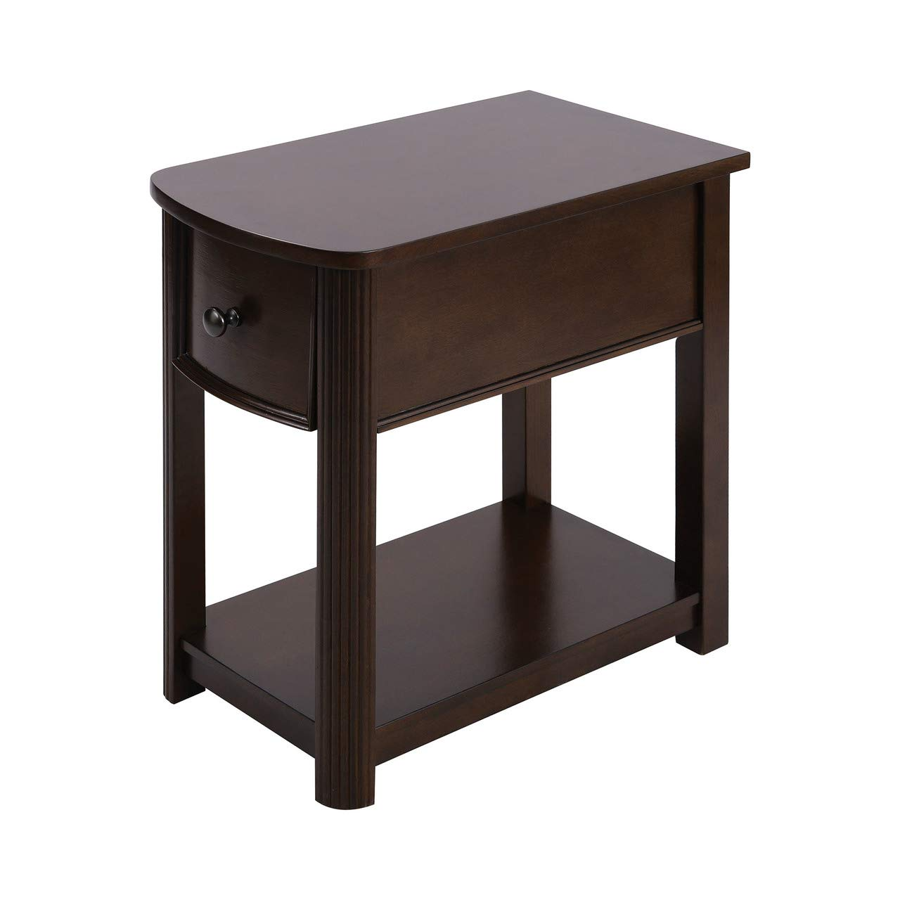 Carlyle Chairside End Table Almost Black Ashley Furniture Signature Design Rectangular with 2 USB Ports Contemporary