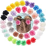 DeD 40PCS 2' Chiffon Flower Hair Bows Fully Lined Flower Tiny Hair Clips Fine Hair for Girls Infants Toddlers Set of 20 Pairs