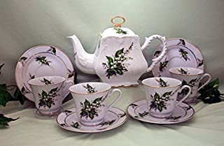 Lily of the Valley Tea Set, 4 Cups and Saucers, Tea Pot, Porcelain, Made in USA