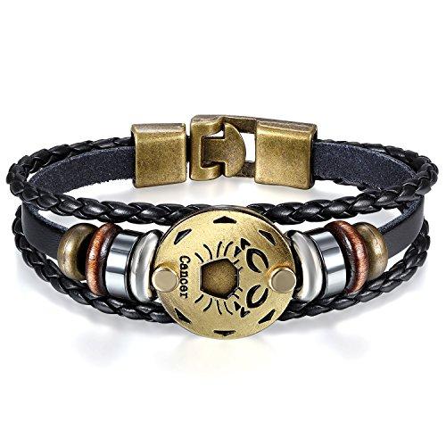 JewelryWe Schmuck Herren Damen Krebs Armband, 12 Tierkreis Sternzeichen Horoskop Charms Druckknopf Armreif, Leder Legierung, schwarz