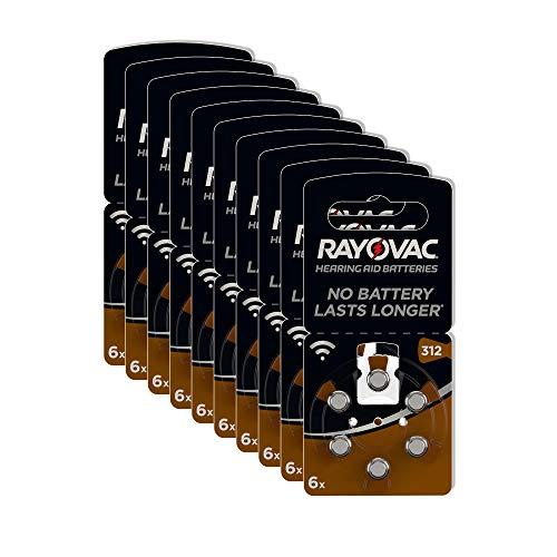 Rayovac Acoustic Zink Luft Hörgerätebatterie in der Größe (mit 60 Batterien geeignet für Hörgeräte Hörhilfen Hörverstärker) braun, 312 Pack