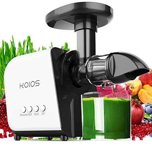 KOIOS Slow Masticating Juicer Extractor Machines ≤60 dB, Reverse Function & 7 Level Longer Spiral System, BPA-Free, Cold Press Juicer Machines with Brush, Creates High Nutrient Fruit and Veggies Juice