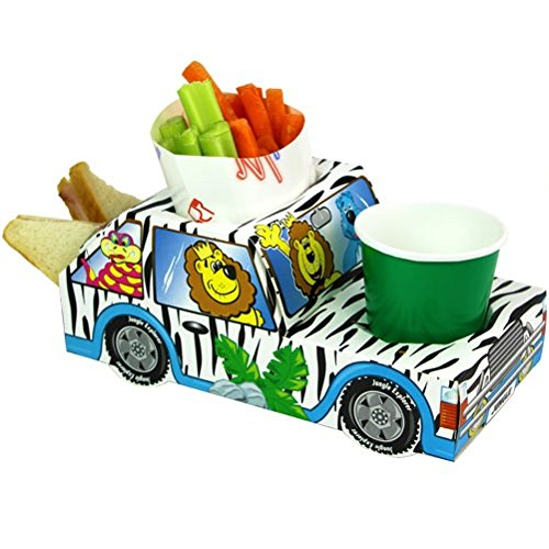 MustBeBonkers x30 Jungle Animal Safari Leeuw Jeep - Feestmaaltijd voedsel trays - Lunch Box Plate lade