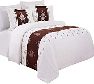 sheetsnthings Embroidered Eleanor Microfiber 8PC Full Bed-in-a-Bag Comforter Set (Ivory, Chocolate and Lavender)
