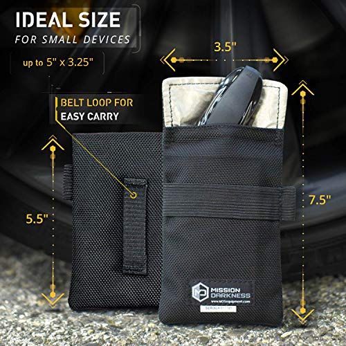 """Mission Darkness Faraday Bag for Keyfobs // Device Shielding for Smart""""Always On"""" Keyfobs for Automobile Owners, Law Enforcement, Military, Executive Privacy, Travel Security, Anti-hacking Assurance"""