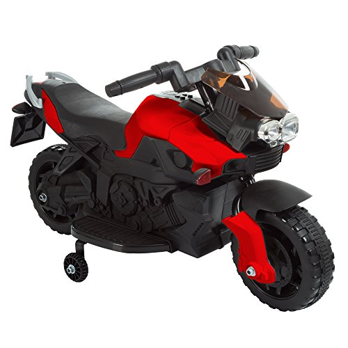 Electric Motorcycle – 2-Wheel Sport Bike with Training Wheels and Reverse - Battery Powered Motorbike for Kids Ages 3-6 by Lil' Rider (Red)