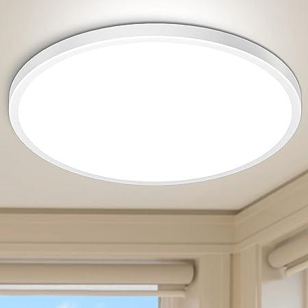 Plafonnier LED 28W Blanc Froid 6000K Hepside Plafonnier Lampe 2520LM Moderne Rond Ultra-mince Salle de Bain Éclairage Intérieur Plafonnier Plat Applicable à Bureau,Chambre,Cuisine,Couloir,Ø30cm