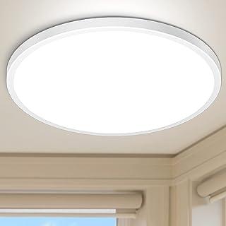 Plafonnier LED 28W Blanc Froid 6000K Hepside Plafonnier Lampe 2520LM Moderne Rond Ultra-mince Salle de Bain Éclairage Inté...