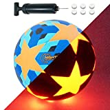 NIGHTMATCH Light Up LED Soccer Ball - Official Size 5 - Extra Pump and Batteries - Perfect Glow in The Dark Soccer Ball with Spare Batteries - Waterproof LED Glow Ball with Two Bright LEDs (Blue)