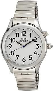 Women's Talking Silver-Tone Day Date Alarm Expansion Bracelet Watch