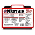 Be Smart Get Prepared First Aid Kit, 250 Piece Set 1 Count 11 250 pieces of comprehensive first aid treatment products. Manufactured by the leading manufacturer of First Aid Kits in the USA. Meets or exceeds OSHA and ANSI 2009 guidelines for 50 people. Ideal for most businesses and perfect for family use at home. Fully organized interior compartments provides quick access. Rugged, sturdy hard plastic case is impact resistant