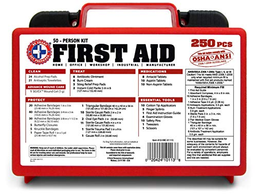 Be Smart Get Prepared First Aid Kit, 250 Piece Set 1 Count 2 250 pieces of comprehensive first aid treatment products. Manufactured by the leading manufacturer of First Aid Kits in the USA. Meets or exceeds OSHA and ANSI 2009 guidelines for 50 people. Ideal for most businesses and perfect for family use at home. Fully organized interior compartments provides quick access. Rugged, sturdy hard plastic case is impact resistant