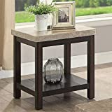 Furniture of America Ozzi Marble Top End Table with Dark Brown Base