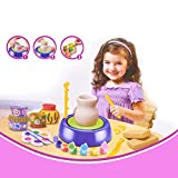 Pottery Wheels and Accessories Toys,DIY Pottery Wheel Kit with Paints and Tools Toy for Kids As Beginners Including Clay