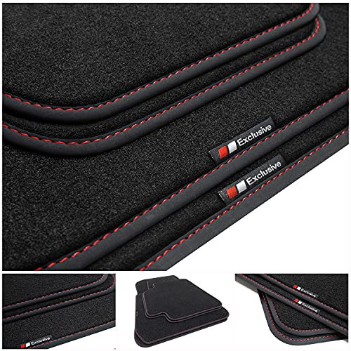 tuning-art BEF915 Fußmatten passend für Opel Mokka B/Mokka-e 2021-, Naht:Rot