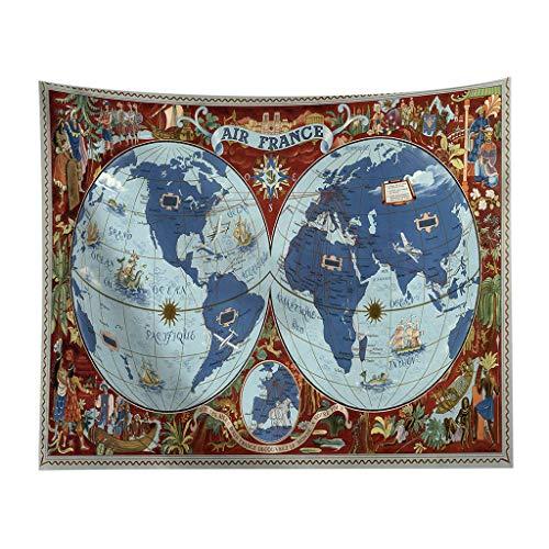 Yncc✬ Carte du Monde Tapisserie Tenture, Murale Vue Usage - Tapisseries Murales De Carte du Monde Vintage Suspendus Hippie Tapisserie Couvre-Lit Tapis De Yoga Nouveau