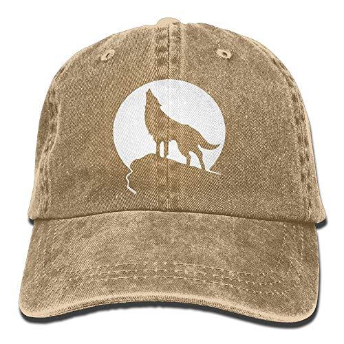 Cheeper Eletina Ds Custom Cowboys Caps Heulender Wolf Moon Logo Erwachsene Cowboy Hut Baseball Cap Einstellbar Athletic Design Sommer Hut für Herren und Damen Herren, Unisex, natur, Einheitsgröße