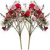 Yyhmkb 21 Cabezas De Diamantes Pequeñas Rosas Flores Artificiales Ramos De Flores De Rosas Artificiales para La Decoración del Banquete De Boda En Casa 2 Piezas Rojo Diamante De Otoño