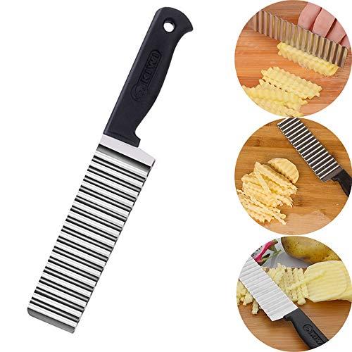 Lifemaison Küchenhelfer Edelstahl Gemüseschneider Wellen-Schneider Kartoffelschneider zum Schneiden für Obst Kartoffel Gurke 1 Stück