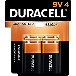 Duracell CopperTop 9V Alkaline Batteries | Long Lasting, All-Purpose 9 Volt Battery | 4 Count from Duracell