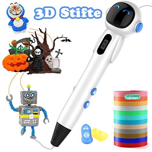 3D Stifte, Lovebay 3d stift set mit Ein kompletter Satz von 12 Farben und LCD display, 3D Pen Kompatibel mit PLA und ABS, Weihnachtsgeschenk für Kinder und Erwachsene DIY kreative Malerei