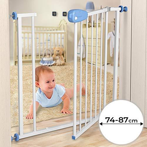 Barrière de Sécurité pour Bébé - Largeur 74-87 cm, à Pression, sans Perçage, Double Verrouillage, en Métal, Blanc - Barrière pour Enfant, Escalier et Porte