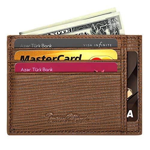 Wallets for Men,RFID Blocking Minimalist Slim Leather Credit Card Holder Wallet for Women 8 CC+1 Top Pocket